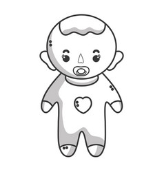 line baby boy with pacifier and hairstyle vector image