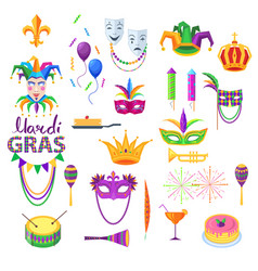 Mardi gras festival collection on white vector