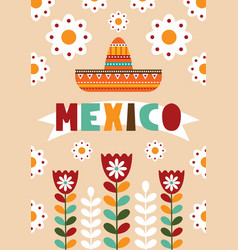 Mexican folk card invitation vector