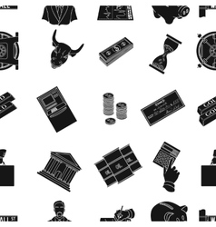 Money and finance pattern icons in black style vector
