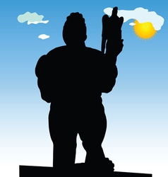 Monument of belgrade winner in close silhouette vector