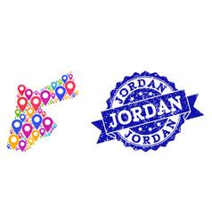 Mosaic map of jordan with map pins and distress vector