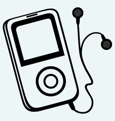 MP3 player with earphones vector image