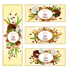 Nuts bean seed superfood label set food design vector