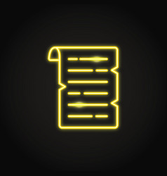 old papyrus icon in glowing neon style vector image