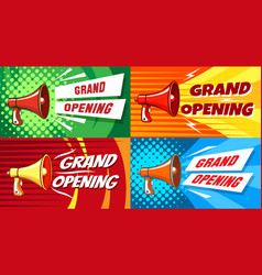 opening megaphone invitation posters vector image