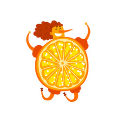orange fruit cartoon character happy girl in vector image