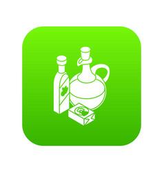 Organic eco food icon green vector