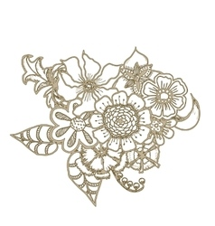 Ornate floral drawing with flowers Doodle sharpie vector