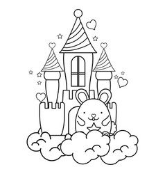 Outline cute male mouse in the castle and clouds vector