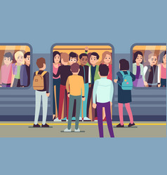 People go into subway train public urban vector
