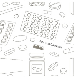 Pills and Capsules Icons Set pattern vector