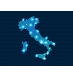 pixel Italy map with spot lights vector image
