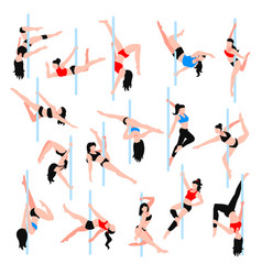 Pole dance isometric icons set vector