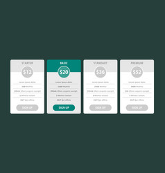 Pricing table template pricing plans vector