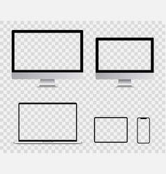 realistic blank computer monitor smartphone vector image