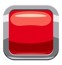 Red square button icon cartoon style vector image vector image