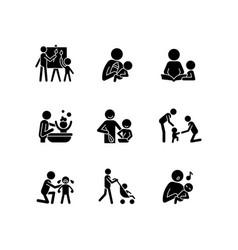 Responsible parenthood black glyph icons set vector