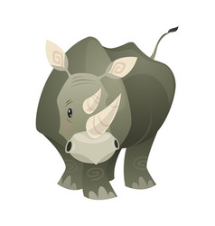 rhino strong rhinoceros savannah gray animal vector image