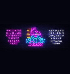 Roller skates neon sign retro quad roller vector