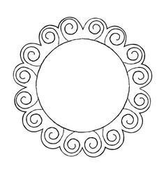 Round doodle line art frame set vector