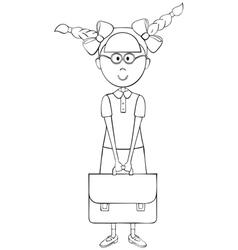 Schoolgirl with briefcase vector image