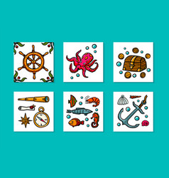 sea adventures card set marine hand drawn vector image