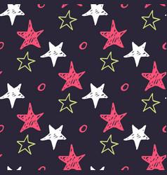 seamless star pattern hand drawn sketch stars vector image