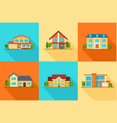 set modern city cottage houses buildings icons vector image