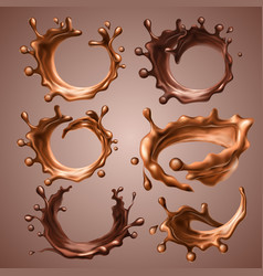 Set of realistic splashes and drops of melted milk vector