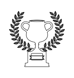 Silhouette monochrome trophy cup with olive crown vector