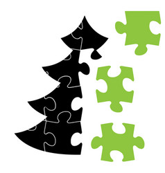 Simple christmas tree made from puzzle vector