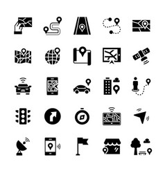 simple icon set navigation items in flat style vector image
