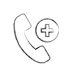 Sketch draw emergency call cartoon vector