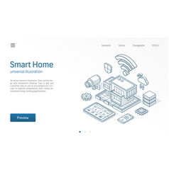 Smart home isometric line technology vector