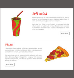Soft drink and pizza slice vector
