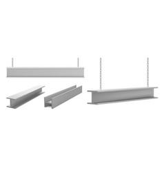 Steel beams metal industrial girders on chain vector