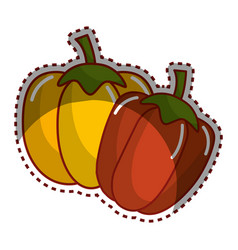 Sticker yellow pepper and red pepper vegetable vector