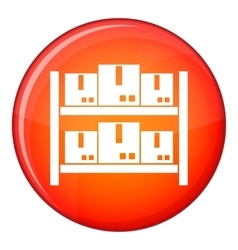 Storage of goods in warehouse icon flat style vector