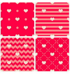 tile pattern with hearts on pink and red backgroun vector image