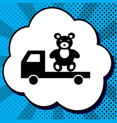 truck with bear black icon in bubble on vector image