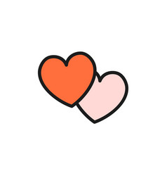 two hearts flat color icon isolated on white vector image