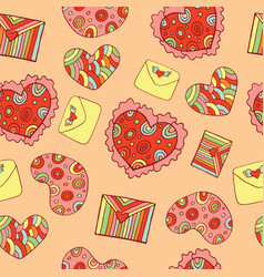 valentine s day seamless pattern with hearts and vector image