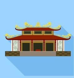 Vietnam temple icon flat style vector