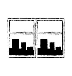 Window cityscape window framed urban buildings vector