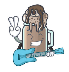 with guitar milkshake mascot cartoon style vector image