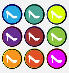 woman shoes icon sign Nine multi colored round vector image