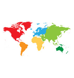 World map divided into six continents each vector