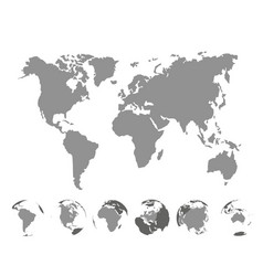 World map with continents on white background vector