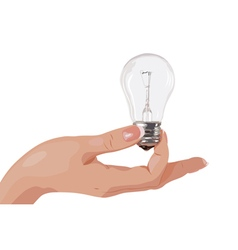 Young woman hand holding light bulb vector